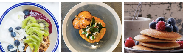 ideias brunch sopa de abóbora bowl de frutas e panquecas