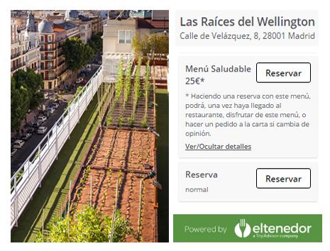 ElTenedor Atraer clientes con platos vegetarianos. Restaurante Las Raíces del Hotel Wellington. Madrid