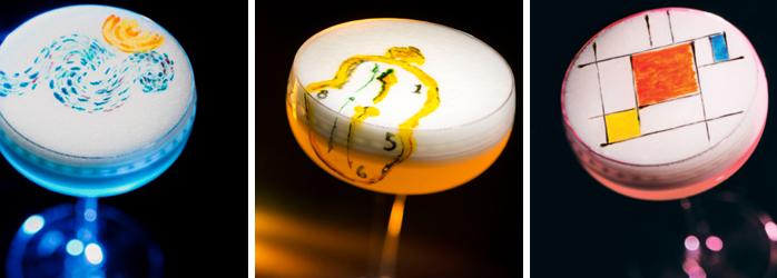 restaurantmarkating versies van historische kunstwerken in de vorm van cocktails