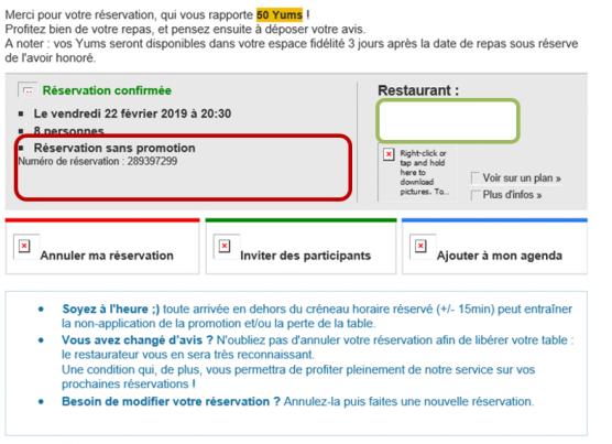 Message de confirmation de réservation de restaurant sans promo