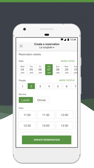 LaFourchette Manager App create a reservation