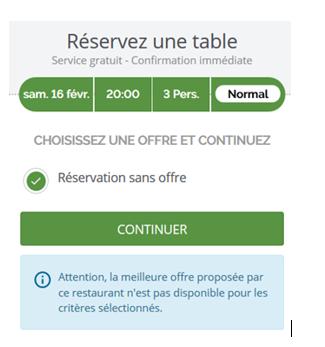 Réservation de restaurant message sans promo