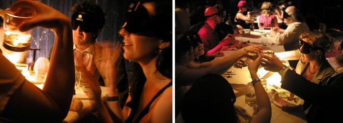 TheFork fidélisation client - les gens mangeant les yeux bandés dans le restaurant Dans Le Noir