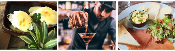 brunch automne Oeufs Bénédicte, barman servant cocktail, assiette combo