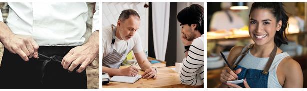 jefe de restaurante entrevista a un camarero, camarera apunta pedido, chef ajusta su delantal