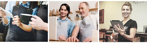 contratar funcionários garçons trabalhando em um restaurante