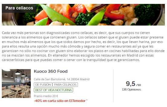 ElTenedor - atraer clientes celíacos al restaurante
