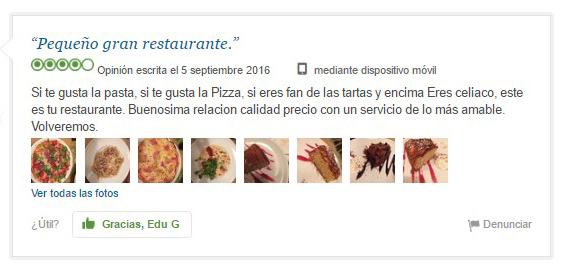 ElTenedor - atraer clientes al restaurante opinión celíaco tripadvisor restaurante sin gluten