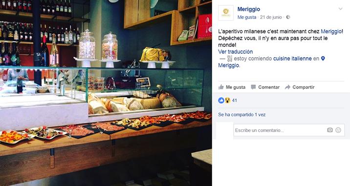 ElTenedor Estrategia para atraer clientes con el aperitivo italiano en el restaurante Meriggio en París. Imagen de la barra con buffet