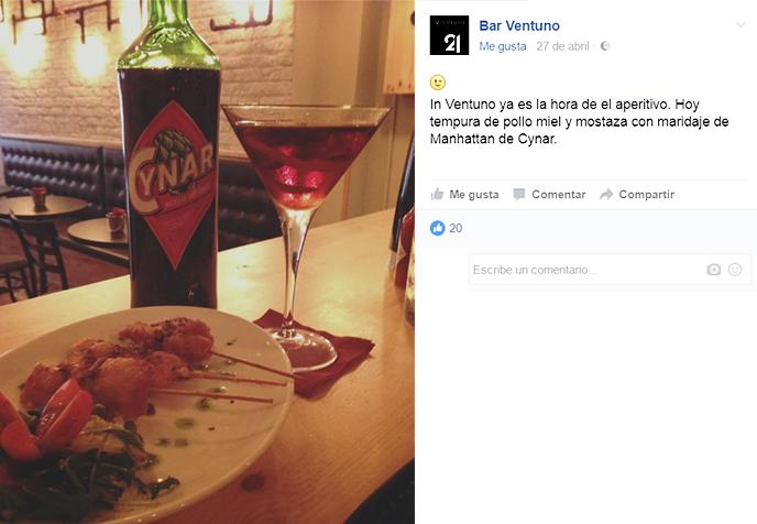 ElTenedor Estrategia para atraer clientes con el aperitivo italiano en el restaurante Ventuno en Barcelona. Publicación de Facebook con copa y plato que dan con el aperitivo