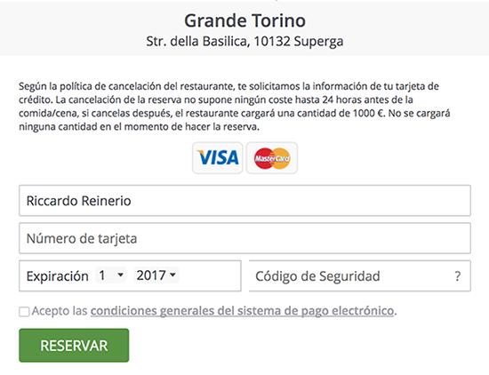 ElTenedor - garantía con tarjeta de crédito - software de gestión de restaurantes - garantizar la ocupación
