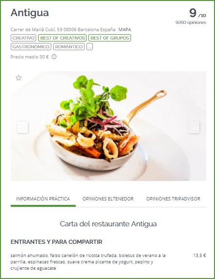 ElTenedor - marketing de restaurantes - menú publicado en ElTenedor