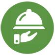 Software restaurante: icono de una mano sirviendo un plato. ElTenedor