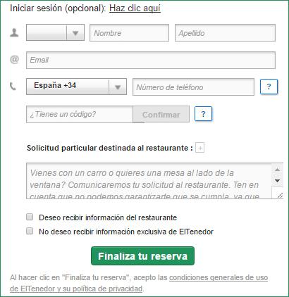 Software restaurante: formulario de reserva online en ElTenedor.