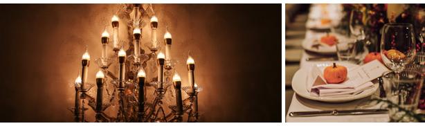 tavolo decorato di halloween ristorante lampada a candela