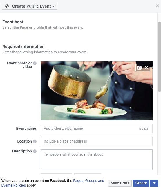 window for create a facebook event