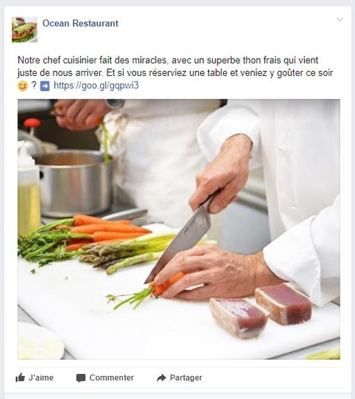 LaFourchette - Touver des clients - Erreurs dans le profil Facebook du restaurant