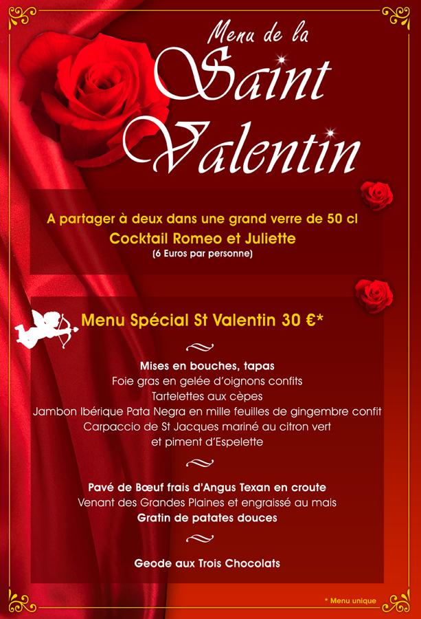 LaFourchette Les restaurants à la Saint-Valentin menu