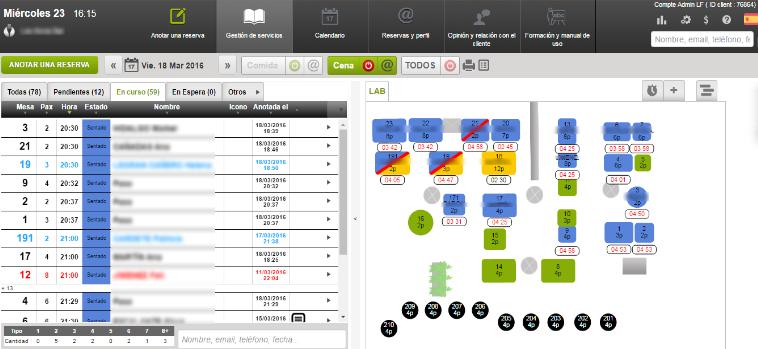 Logiciel de gestion de restaurant: image graphique de plan numérique de la salle de restaurant en LaFourchette Manager