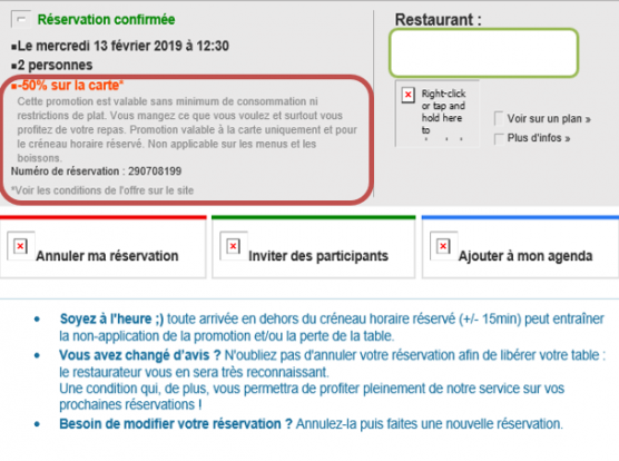 Message de confirmation de réservation de restaurant avec promo