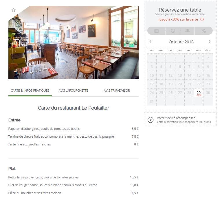 TheFork - fidálisation des clients - menu