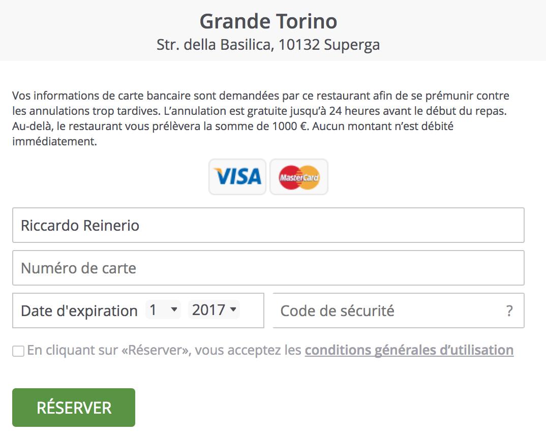 TheFork  logiciel de gestion de restaurant - garantie carte de crédit
