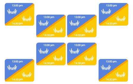 Logiciel de gestion de restaurant: image graphique avec des horaires pour doublez les tables de restaurant. TheFork
