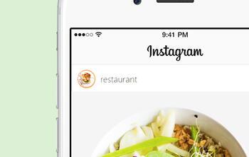 iphone cuenta de Instagram mostrando plato de ensalada, de un restaurante. Promocionar restaurante instagram